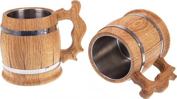 Holz Bierkrug 0,33 oder 0,5 Liter mit Edelstahl Einsatz